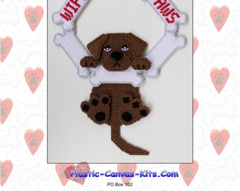 Chocolate Labrador Reriever-Wipe Your Paws Wreath-Plastic Canvas Pattner-PDF Download