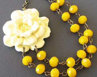 Yellow Necklace Statement Necklace Flower Necklace Yellow Jewelry Beaded Necklace Double Strand