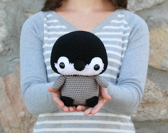 PATTERN: Cuddle-Sized Penguin Amigurumi, Crocheted Baby Penguin, Toy Tutorial, PDF Crochet Pattern, Holiday Winter Crochet