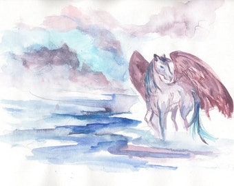 Pink purple pegasus horse 5 x 7 or 8 x 10 CHOICE of PRINT watercolor magical blue pink New Age pastel fantasy childrens room fairytale art