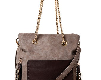 Mocha Handbag with Chunky Chain Strap