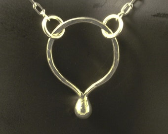 Eternity Silver Necklace with SS Chain and Clasp - Handmade Argentium Sterling Goddess Tear Necklace - Simply Beautiful