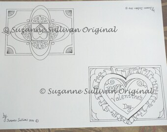 Blank Valentine Cards to Color, Valentine Cards to Color, Adult Coloring, Coloring, Printable Download, Greeting Card, Set of 2, Blank Cards