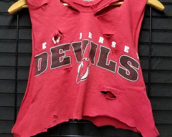 New Jersey Devils Hockey Distressed Shredded Crop Top