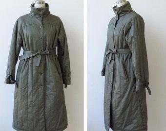 1980's Allander Coat Khaki Trench Coat Quilted Coat Plus Size Long Coat Khaki Puffer Tie Waist Jacket Trench Coat 80's Coat L XL