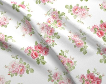 Pink And White Floral Fabric - Saint Elfswythe By Lilyoake - Roses Vintage Florals Cotton Fabric By The Yard With Spoonflower