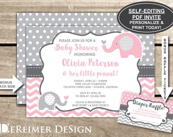 Elephant baby shower invitation etsy elephant baby shower invitation pink gray little peanut self editing pdf filmwisefo Images