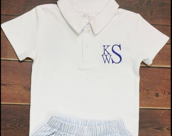 Personalized Polo Shirt, Baby, Toddler, Boys, White, Navy Blue