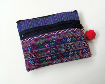 Eco Friendly Gift, Fabric Pouch, Zipper Pouch, Phone Case, Tribal Pouch, Little Boho Pouch, Purple Accessory Pouch
