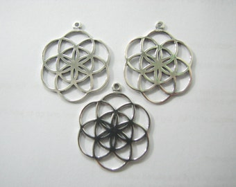 3 X Authentic Seed of Life Charms, 925 Sterling Silver, Sacred Geometry Pendants, Wholesale Jewelry Supplies