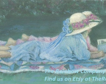Afternoon Delight art print, girls, hats, dressup, vintage, barefoot, Victorian style, Betty Morris Hamilton