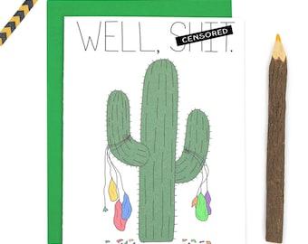 Funny Cactus Birthday Card, Happy Birthday Cactus Balloons Card, Mature Happy Birthday Card, Cactus Card, C-143