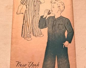 RARE 1940's Boys' Pajama Pattern---New York Pattern 1377---Size 6