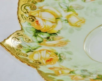 Imperial Crown China Plate Austria Yellow Rose Gold Pointed Edge