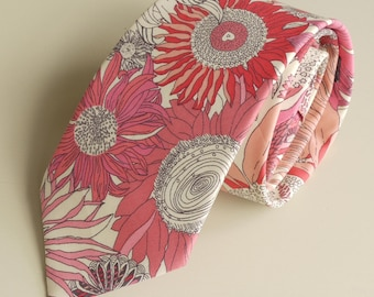 Mens floral tie -  Liberty tie Susanna - Liberty print tie -sunflower tie - pink tie - wedding tie