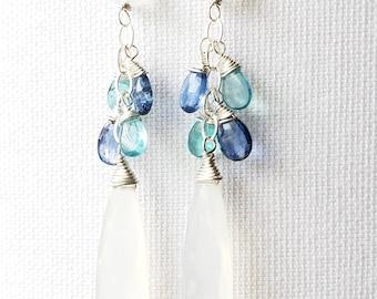 Paradise, Kyanite, Apatite, Rainbow Moonstone, White Chalcedony, Sterling Silver Gemstone Earrings, erinelizabeth