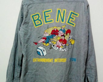 Vintage Chambray 80s Button Down Long Sleeve Bene Benetton Made In Italy Big logo