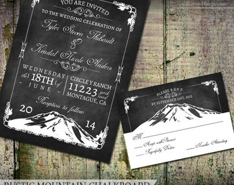 Mountain Wedding Invitation Set Printable Rustic Outdoor Nature Wedding Invite Chalkboard Country Wedding DIY Digital Printable Template