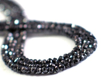 Sparkling Black DIAMOND Faceted Rondelles, 36 Precious Gem Stones for High End Jewelry Designs, Black Diamond Jewelry, Luxury Diamond Beads