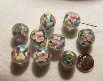10 15mm Lampwork Multicolor Pink Blue Yellow Daisy Round Glass Beads