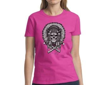 Indian Headdress Skull Women's Shirts Tshirts Tees Indian Skull Tops T shirts Day of Dead Indian Chief Skull