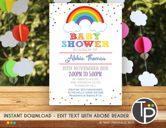 RAINBOW Baby Shower Invitation Instant Download RAINBOW Baby