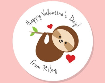 Sloth Valentine, Personalized Valentines, Valentine Gift Tag Sticker, Personalized Sticker, Sloth Sticker, custom labels, 24 stickers, round