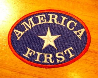 TRUMP America First Embroidered Patch FULL COLOR, New for jacket, hat, vest, bikers