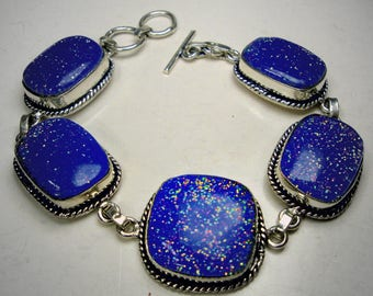 BRACELET, Sterling 925 Silver Links with Sparkling Blue RAINBOW Confetti Glass, GORGEOUS
