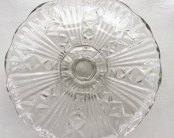 Glass Cake Stand - vintage pressed glass cakestand - 1950s glass cakestand on pedestal - vintage glass cake plate