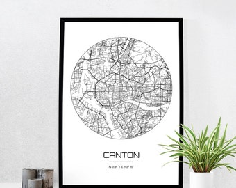 Canton Map Print - City Map Art of Canton China Poster - Coordinates Wall Art Gift - Travel Map - Office Home Decor