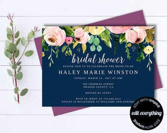 Navy Blue Bridal Shower Invitation - Blue Floral Bridal Shower Invite - Printable Invite Wedding Shower - Printable Bridal Invitation