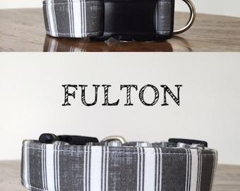 Fulton - Gray and White Handmade Collar