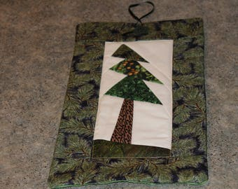 Green Pine Cones Tree Pieced 12  X 7 Handmade Quilted Wall Hanging