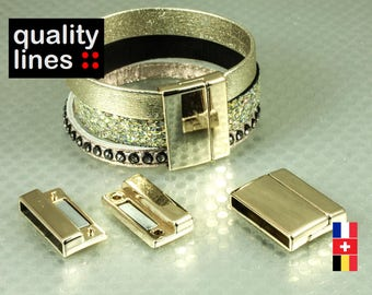 Gold magnetic clasp for leather flat hole 25mm / 2.5 mm bracelet