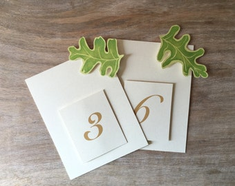 Oak Green Leaf Table Numbers - Wedding Reception Seating. Table Decoration