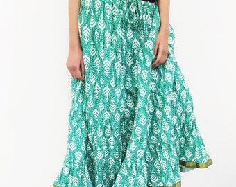 Women's Green Floral Print Crinkle Cotton Long Skirt Free Size
