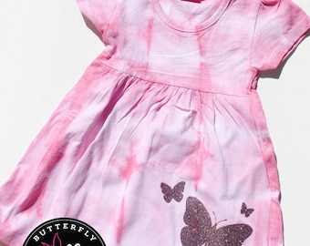 Light pink and white tie-dyed 6-12 month baby girls cotton cap-sleeved dress with glittery butterflies, gift for baby girl