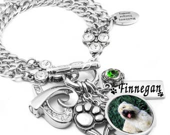 Dog Memorial Bracelet with Cremation Urn for Pet Ashes, Personalized Pet Photo with Engraved Pets Name