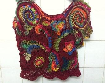 Crochet Top Unique top with flowers Vest Lace top Freeform crochet top OOAK top Summer top