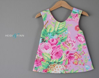 Modern FLoral Sweet pinafore 12m 2t 3t 4/5t  tunic top pink flowers spring summer cross over back