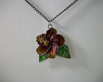 hibiscus flower necklace, enamel