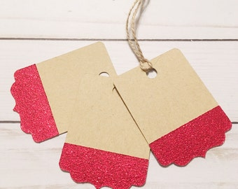 Valentine Glitter Gift Tags • Holiday Gift Tags • Red Glitter Gift Label • Valentine Packaging • Red Glitter Labels • Kraft Gift Tag Label