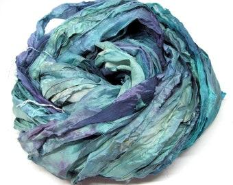 Hand Dyed Recycled Sari Silk Ribbon Yarn Embroidery Knitting Weaving 99g B