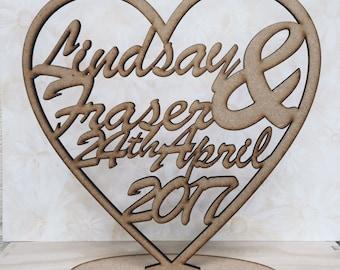Personalised Heart Plaque, laser cut 3mm mdf, custom names, wedding, anniversary