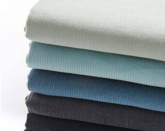 Fine Wale Cotton Corduroy - Mint Olive, Aqua Marine, Classic Blue, Dark Gray, Navy or Black - By the Yard 82764