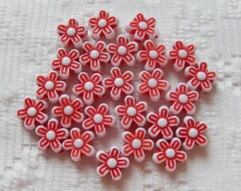 25  True Red & White Flower Acrylic Beads  9mm