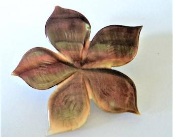 Mother of Pearl Brooch... Smoky Flower Shape
