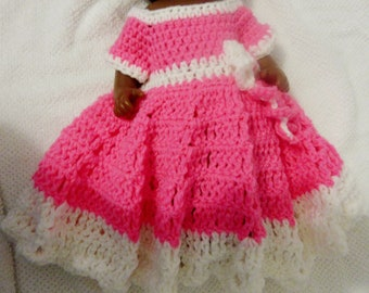 Pink and White Crochet Dress