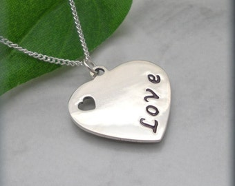 Love Heart Necklace Handstamped Sterling Silver Jewelry